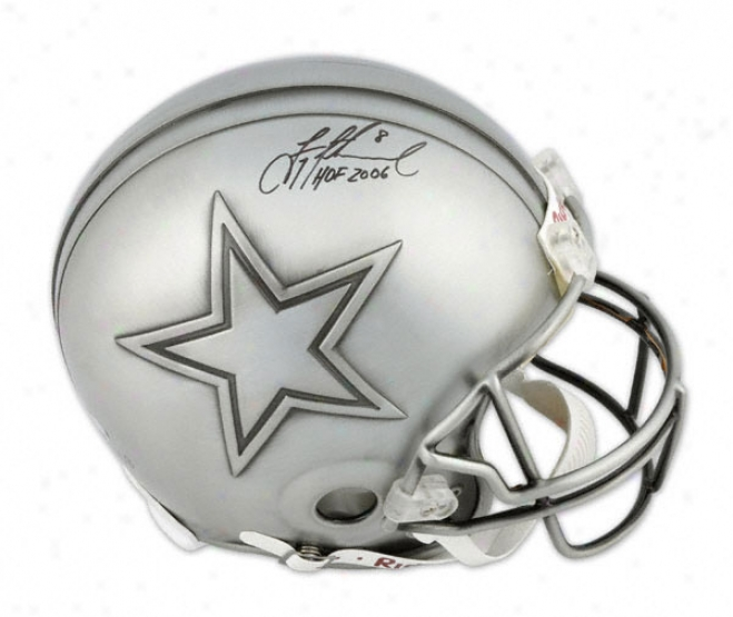 Troy Aikman Autographed Pro-line Helmet  Details: Hall Of Fame, Authentic Riddell Helmet, Hof 6 Inscription