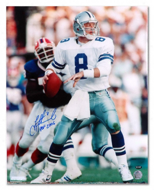 Troy Aikman Dallas Cowboyd - With Brice - Autographed 16x20 Photograph With Hwll Of Fame Inscription