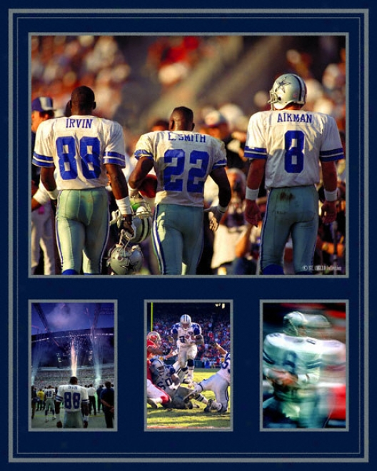Troy Aikman, Emmitt Smith And Michael Irvin Dallas Cowboys - Triplet s- 20x30 Photograph Montage