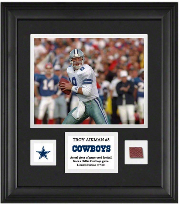 Troy Aikman Framed 8x10 Photograph  Details: Dallas Cowboys, With Game Used Football Piece And Descriptive Plate