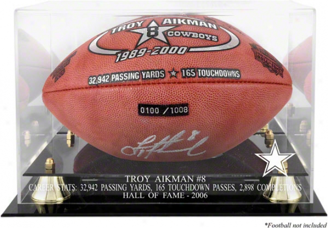 Troy Aikman Hof 2006 With Staristics Golden Classic Football Case With Pattern Back