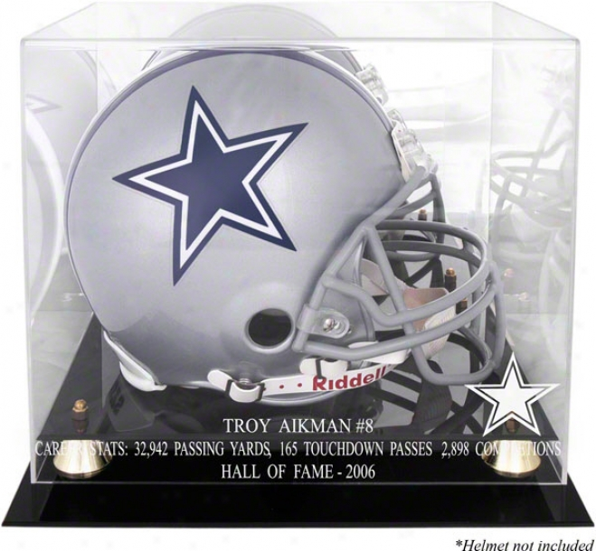Troy Aikman Hof 2005 With Statistics Golden Greek  Helmet Case And Mirror Back