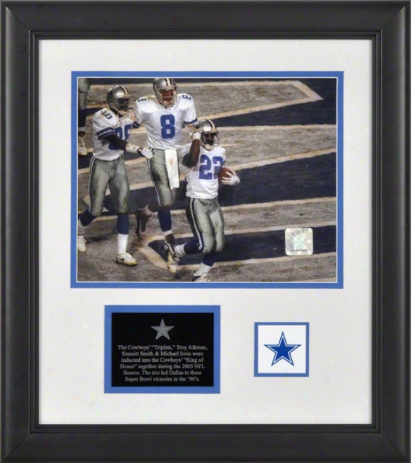 Troy Aikman, Michael Irvin, Emmitt Smith Dallas Cowboys Framed 8x10 Photograph With Logo And Plate