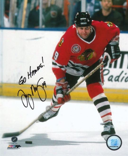 Troy Murray Chicago Blackhawks Autographed 8x1O Photograph With Spirit Hawks Inscription