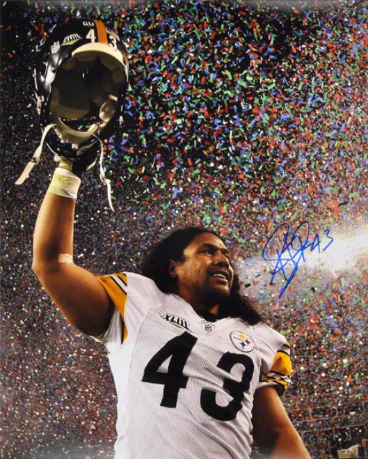 Troy Polamalu Autographed 16x20 Photograph  Details: Pittsburgh Steelers, Super Bowl 43 Celebration With Confetti