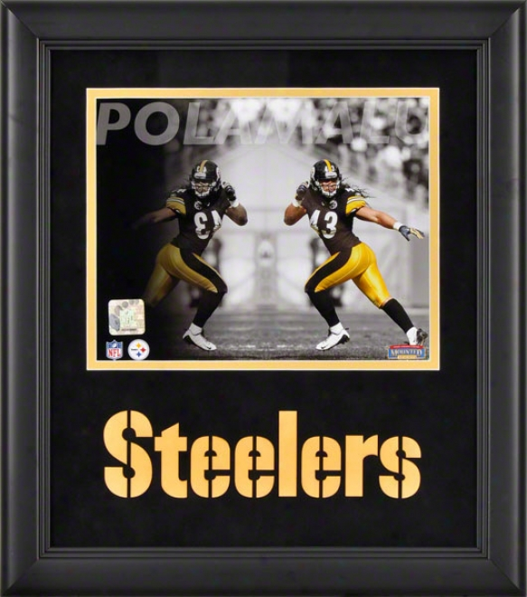 Troy Polamalu Framed Photograph  Details: 8x10, Reflections, Pittsburgh Steelers