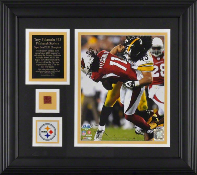 Troy Polamalu Pittsburgh Steelers - Sbxliii Action - Framed 8x10 Photograph In the opinion of Medal, Plate And Football