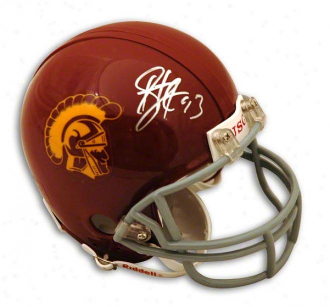 Troy Polamalu Usc Trpjans Autographed Mini Helmet