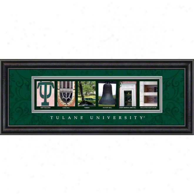 Tulane Green Wave Letter Art