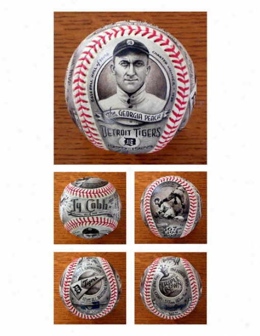 Ty Cobb Detroit Tigers Hand Painted Baseball - By Mike Floyd