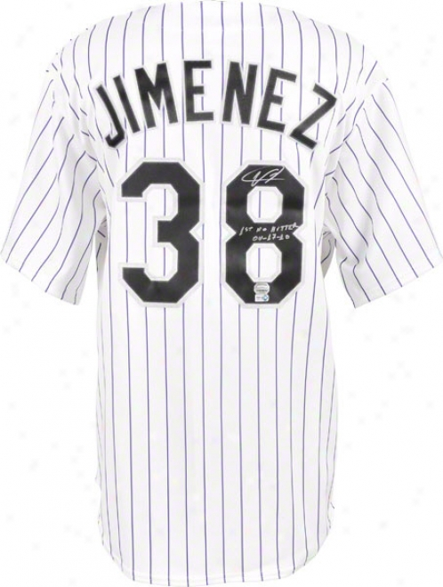 Ubaldo Jimenez Autographed Jersey  Details: Colorado Rockies, White, 1st No Hitter 4-17-10 Inscription