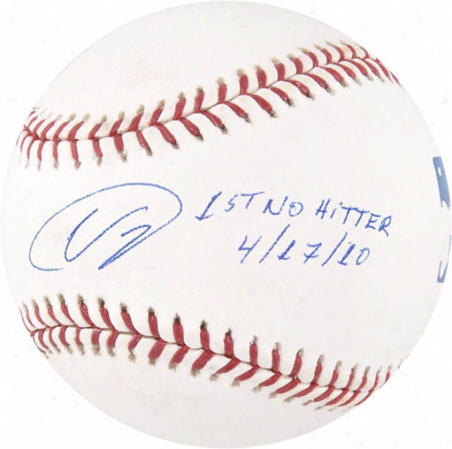 Ubaldo Jimãƒâ©nez Autographed Baseball  Details: 1st No Hitter 4-17-10 Inscription