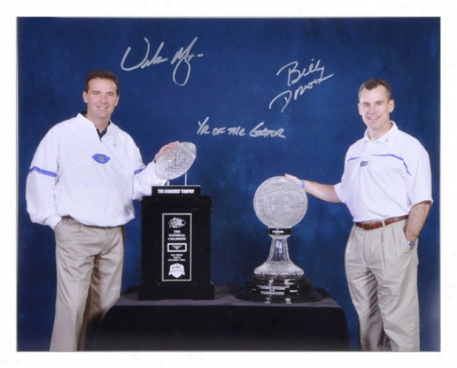 Urban Meyer And Billy Donovan Florida Gators Autographed 16x20 Phot oW/ Inscription &quotyear Of The Gator&quot