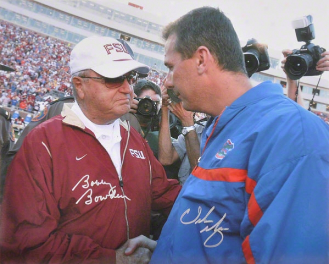 Urban Meyer & Bobby Bowden Autographed 16x20 Photo
