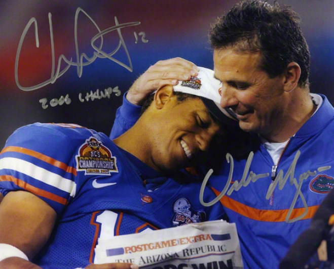Urban Meyer & Chris Leak Florida Gators Autographed 8x10 Photo W/ Inscription &quot2006 Champs&quot