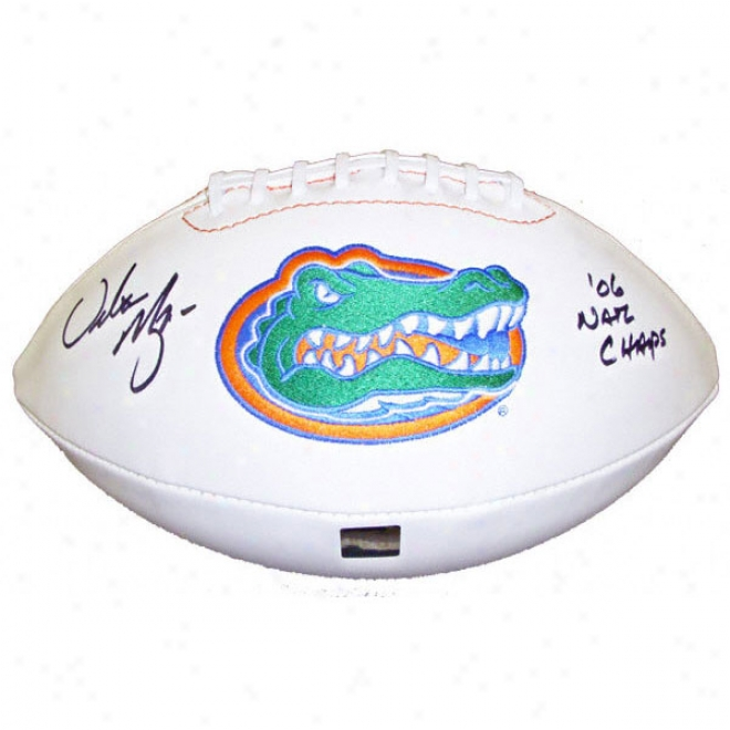 Urban Meyer Florida Gators Autographed Full Size White Football With 06 Nat Champs Inscription