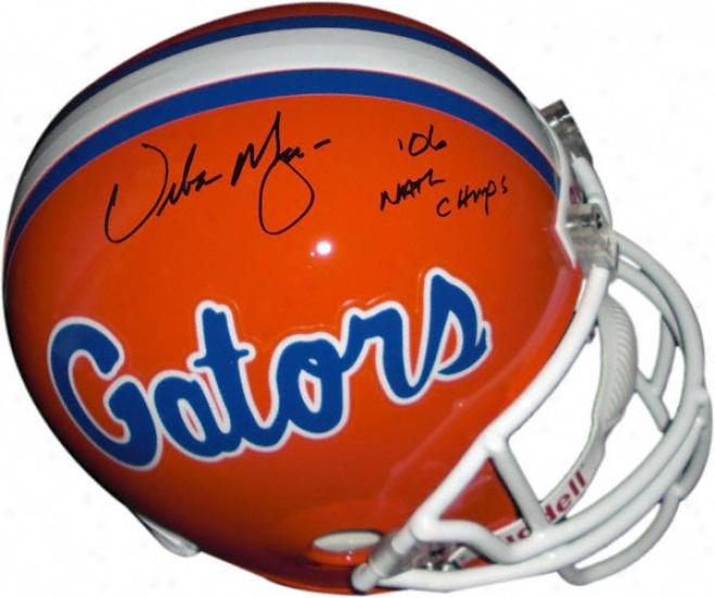 Urban Meyer Florida Gators Autographed Helm With 06 Nat Champs Inscription