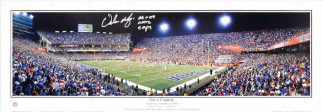 Urban Meyer Florida Gators Autographed Panoramic W/ Inscription &quot06 & 08 Nat'l Champs&quot