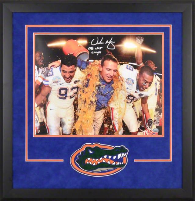 Urban Meyer Florida Gators Deluxe Framed Autographed 16x20 Photo W/ Inscription &quot08 Champs&quot