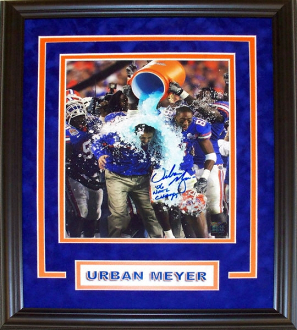 Urban Meyer Florida Gators - Gatorade Dunk - Custom Framed Autographed 8x10 Photograph With 06 Nat ChampsI nscription