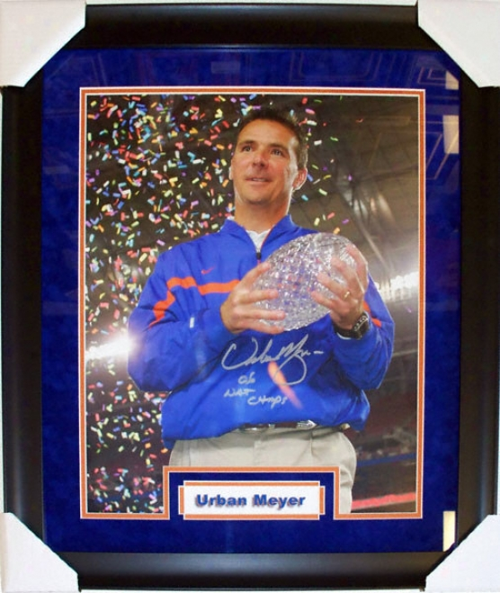 Urban Meyr Florida Gators - National Championship Trophy - Custom Framed Autographed 16x20 Photograph With 06 Natl Champs Inscription