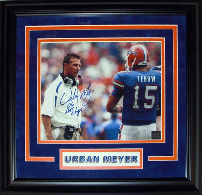 Urban Meyer Florida Gators - Witg Tebow - Custom Framed Autographed 8x10 Photograph With 06 Nat Champs Inscription