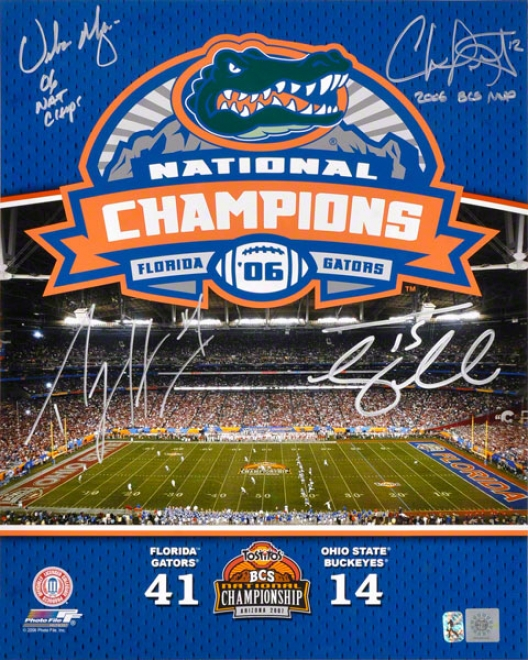 Urban Meyer, Percy Harvin, Chris Leak, And Tim Tebow Autographed 16x20 Phot W/ Inscription &quot06 National Champions&quot
