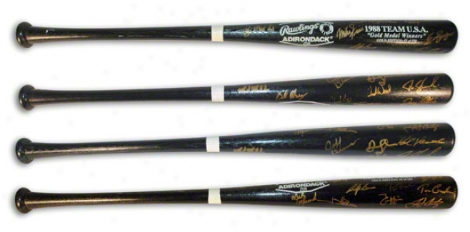 Usa 1988 Olympic Gold Medal Winning Baseball Team Autographed Rawlings Adirondack Bat Signed By Every Member Of The Team