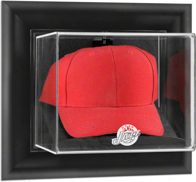 Utah Jazz Framed Wall Mounted Logo Cap Display Case