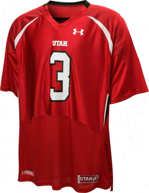 Utah Utes Red Under Armouf Performance Replica Football Jersey: Utah Utes # Football Jersey