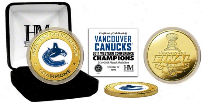 Vancouver Canucks 2011 Western Conference Champions 24kt Gold And Color Coin