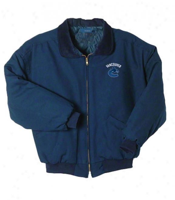 Vancouver Canucks Jacket: Blue Reebok Saginaw Jacket