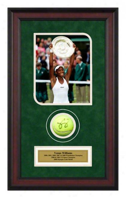 Venus Williams 2005 Wimbledon Championships Framed Autographed Tennis Ball Wi5h Photo