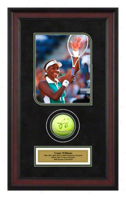 Venus Williams 2007 Us Open Framed Autographed Tennis Ball With Photo
