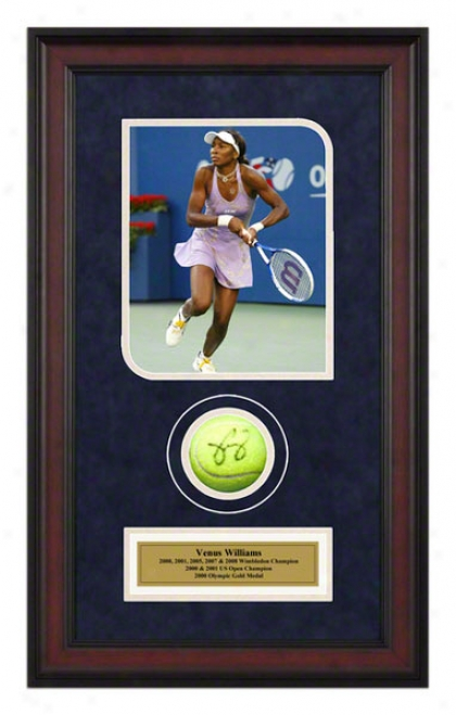 Venus Williams Us Open Framed AutographedT ennis Ball With Photo