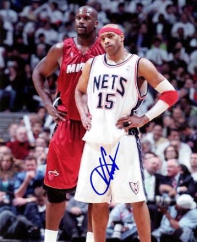 Vince Carter Recent Jersey Nets - Standing With Shaq - 8x10 Autographed Photograph