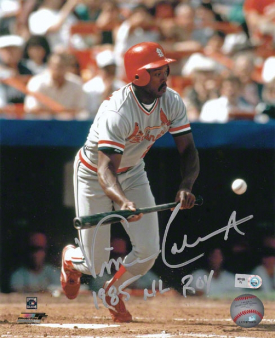 Vince Coleman Autograpged Photograph  Details: St. Louis Cardinal,s 8x10, 85 Nl Roy Inscription