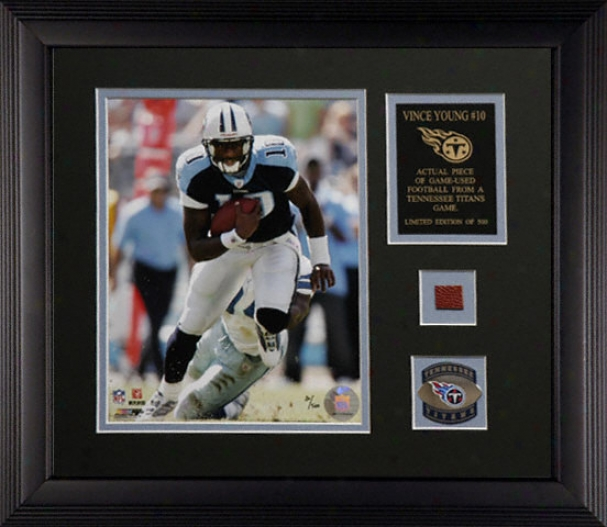 Vince Young Tennessee Titans Framed 8x10 With Team Medallion And Nameplate