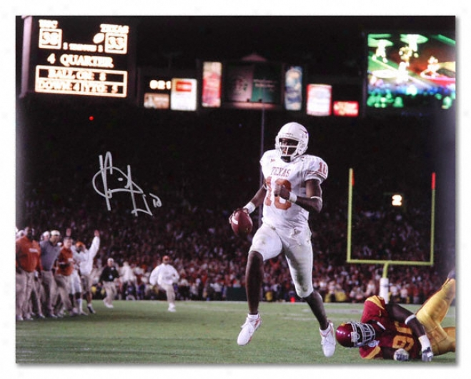 Vince Young Teaxs Longhorns Autographed 16x20 Vs University Of Southern California Pyoto