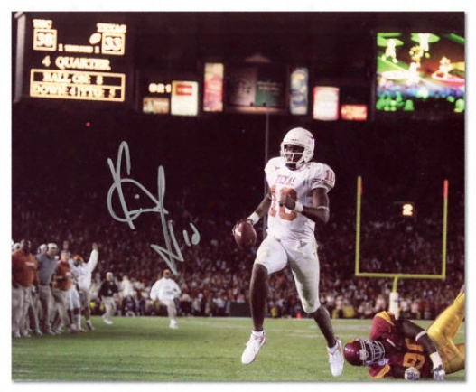 Vince Young Texas Longhorns Autographed 8x1O Vs University Of Southern California Photo