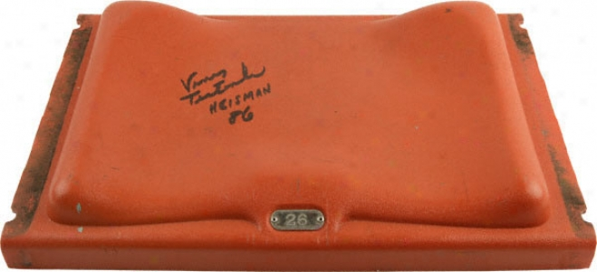 Vinny Testaverde Miami Hurricanes Autographed Orange Bowl Seat With Heisman 86 Inscripion