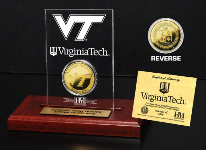 Virginia Tech Hokies 24kt Gold Coin In Etched Acrylic