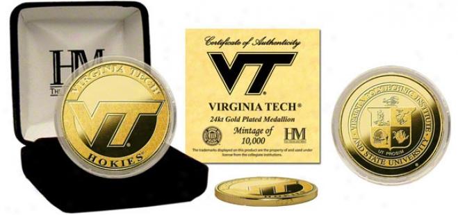 Virginia Tech Hokies 24kt Gold Coin