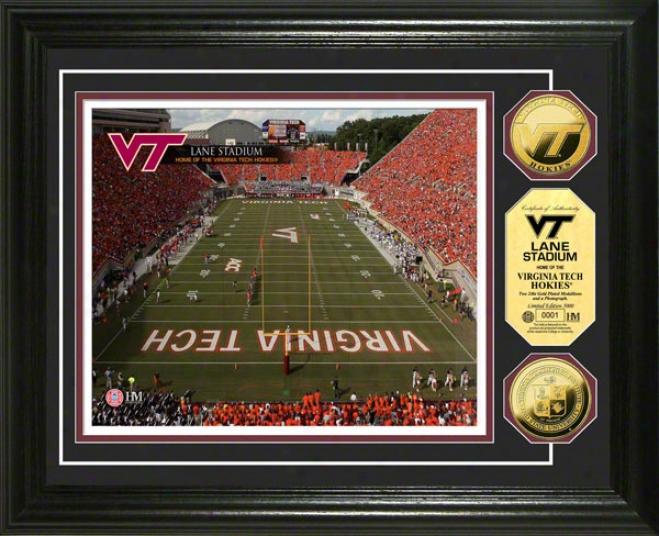 VirginiaT ech Hokies Lane Stadium 24kt Gold Coin Photo Mint