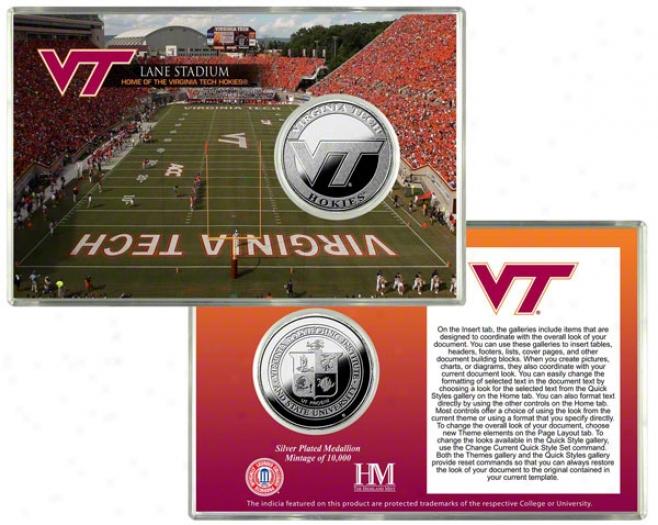 Virginia Tch Hokies Lane Stadium Silver Coin Card