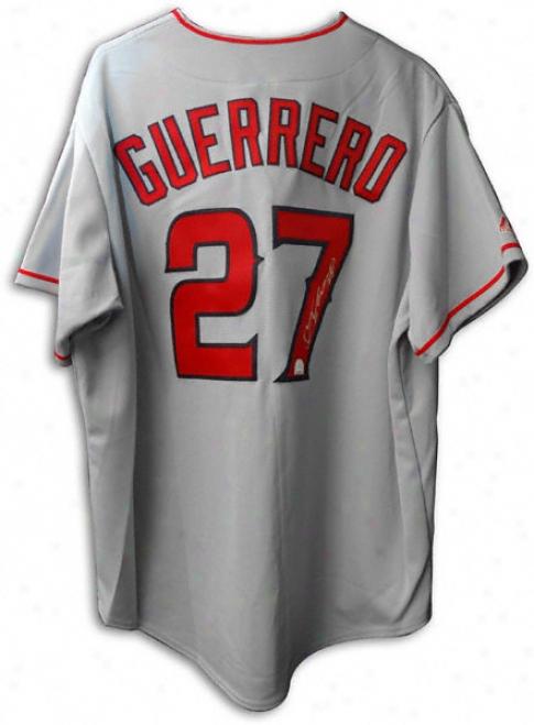 Vladimir Guerrero Los Angeles Angels Of Anaheim Autographed Grey Majestic Jersey