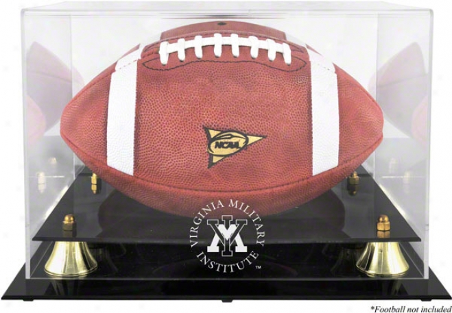 Vmi Keydets Logo Football Display Case  Details: Golden Classic, Mirrir Back