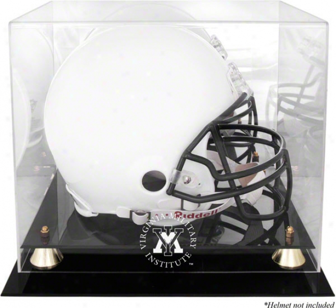 Vmi Keydets Logo Helm Display Case  Details: Golden Classic, Mirrored Back