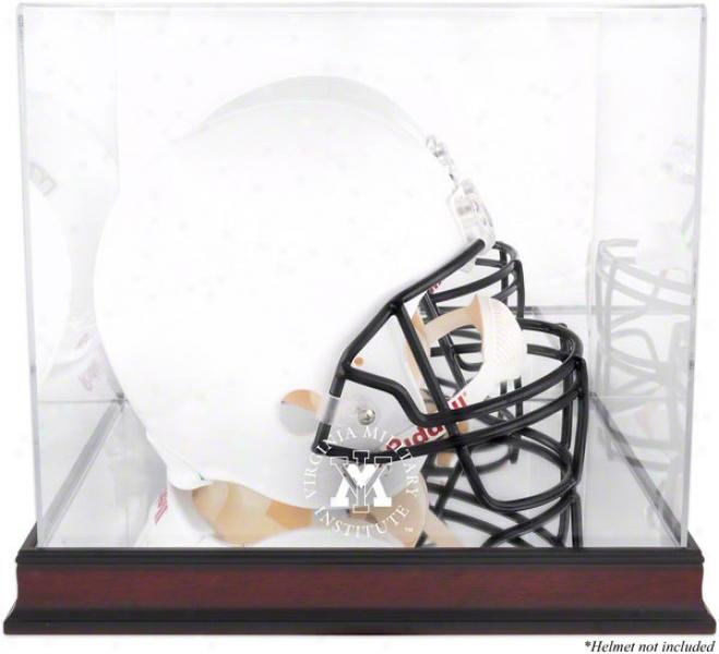 Vmi Keydets Logo Helmet Display Case  Details: Mahogany, Mirrored Back, Bottom