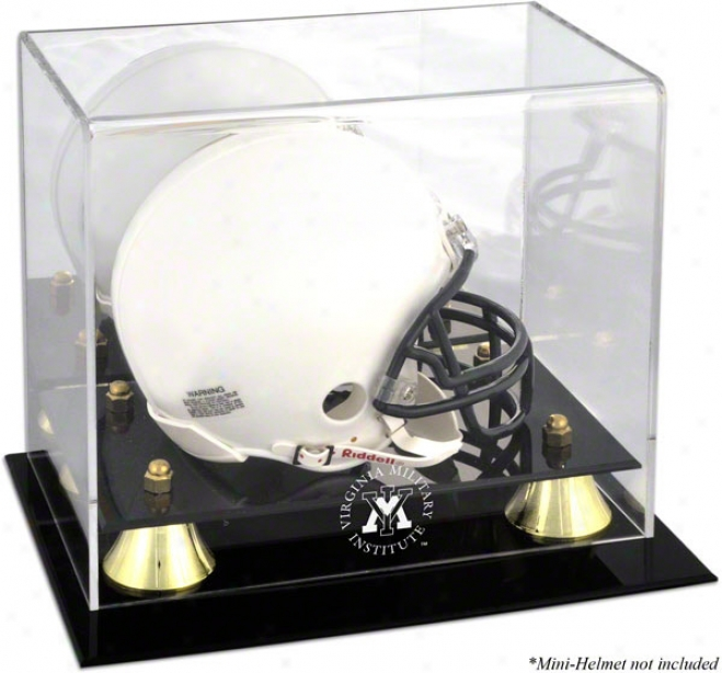Vmi Keydets Logo Mini Helmet Display Case  Details: Golden Classic, Mirror Back